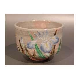 茶道具 茶碗 乾山写 菖蒲(しょうぶ)絵、京焼 伝統工芸士 三代 中村秋峰作