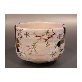 茶道具 抹茶茶碗 幾何学紋 N1 桜絵、 京都 山本阿吽作