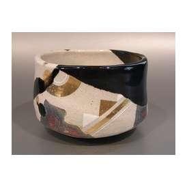 茶道具 抹茶茶碗 掛分釉 幾何学紋 N6 京焼、 京都 山本阿吽(あうん)作