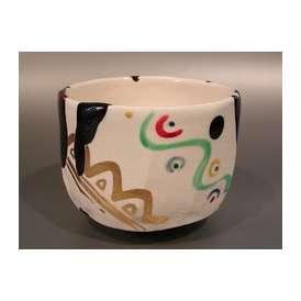 茶道具 抹茶茶碗 幾何学紋 N3 京焼、 京都 山本阿吽(あうん)作