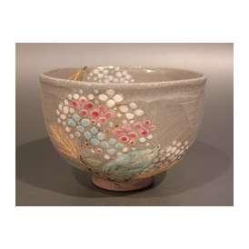 茶道具 抹茶茶碗 灰釉 紫陽花(あじさい)絵、山川敦司作