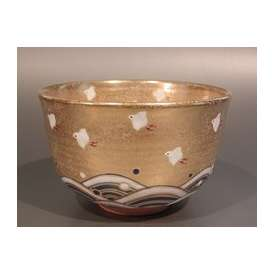 茶道具 抹茶茶碗 金砂子 波に千鳥、京焼 伝統工芸士 小倉 亨作