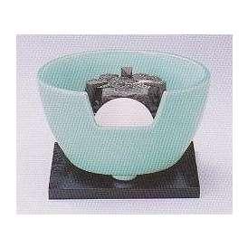 茶道具 遠赤外線 炭型電気ヒーター式 風炉、陶製 紅鉢風炉 青磁 YU-410-3P、強弱切替スイッチ付