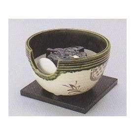 茶道具 遠赤外線 炭型電気ヒーター式 風炉、陶製 紅鉢風炉 織部半掛 YU-405-2P【 製作 休止中 】