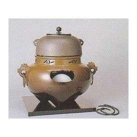 茶道具 遠赤外線 炭型 電熱器、唐銅 鬼面風炉 YU-501-3P 菊地政光作 釜添 強弱切替スイッチ付