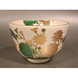 茶道具 抹茶茶碗 色絵 石蕗(つわぶき)画、京都 相模竜泉作