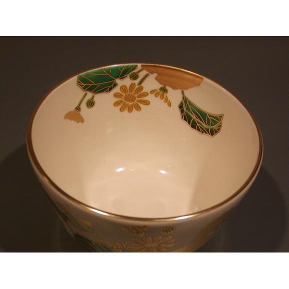 茶道具 抹茶茶碗 色絵 石蕗(つわぶき)画、京都 相模竜泉作03