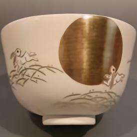 茶道具 抹茶茶碗 色絵 月兎画、京焼 相模竜泉作