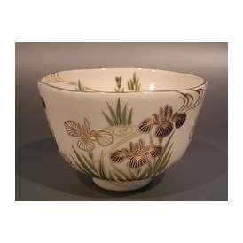 茶道具 抹茶茶碗 色絵 菖蒲(しょうぶ)画 M-8、京焼 相模竜泉作【ギフト】