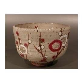 茶道具 抹茶茶碗 色絵 梅、京焼 中村清彩作【ギフト】