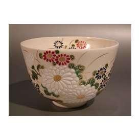 茶道具 抹茶茶碗 仁清 色絵 菊画、 京焼 相模竜泉作