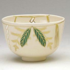 茶道具 抹茶茶碗 色絵 注連飾り(しめかざり)、 京焼 相模竜泉作