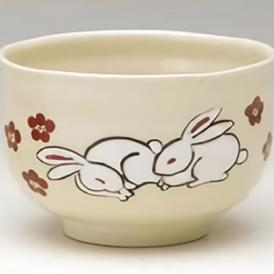 茶道具 抹茶茶碗 小茶碗 色絵 夫婦兎、浅見与し三(よしぞう)作