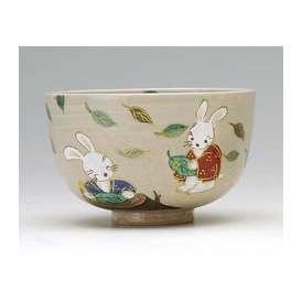 茶道具 抹茶茶碗 色絵 葉書き兎、竹中洸祥 (たけなか こうしょう)作