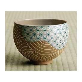 茶道具 抹茶茶碗 色絵 麻葉文、京都 通次阿山作