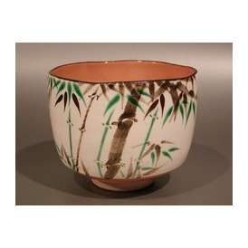 茶道具 抹茶茶碗 色絵 笹竹の図、京都 八代 高橋道八作