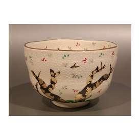 茶道具 抹茶茶碗 色絵 桜の図、京都 八代 高橋道八作