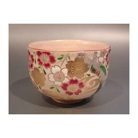 茶道具 抹茶茶碗 乾山写 桜絵、京焼 清和窯 原 清和(賢次)作