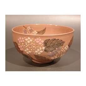 茶道具 抹茶茶碗 紫陽花(あじさい)絵、京焼 大石督幸作