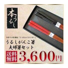 【メール便で送料無料!】うるしがんこ箸21cm・23cm夫婦箸セット