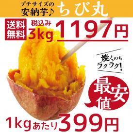 【送料無料】ちび丸~プチサイズの安納芋~3kg1197円 市場最安値 1kgあたり399円