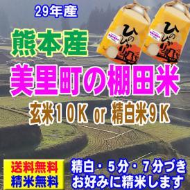 29年産 熊本産 美里町の棚田米 ヒノヒカリ 10kg (5kg×2袋)  送料無料 玄米 精白米 7分づき 5分づき 3分づき オーダー精米