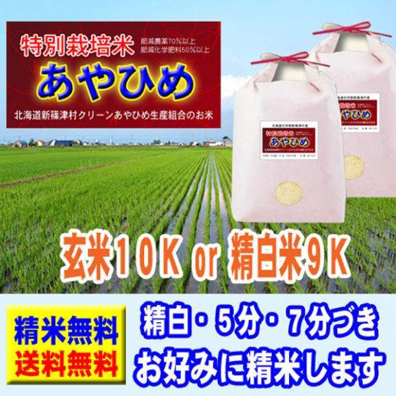 北海道産 特別栽培米 あやひめ 10kg (5kg×2袋) 29年産 送料無料 玄米 精白米 7分づき 5分づき 3分づき オーダー精米01