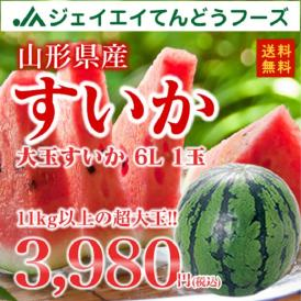 【送料無料】山形県産すいか6L/1箱1玉いり wm03