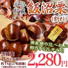 栗 くり クリ 訳あり 茨城県産 飯沼栗 2L(割れ) 約1kg (目安 27粒前後) ※冷蔵