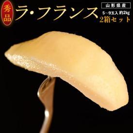 洋なし 洋ナシ 洋梨 山形県産 ラ・フランス 秀品 約2kg(5~9玉)×2箱 送料無料