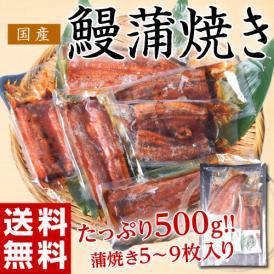 ≪送料無料≫サイズまちまち! 国産 鰻蒲焼き  500g(5枚~9枚) タレ・山椒付き ※冷凍