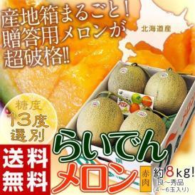 メロン めろん 北海道産 らいでんメロン 赤肉 4~6玉 約8kg 送料無料