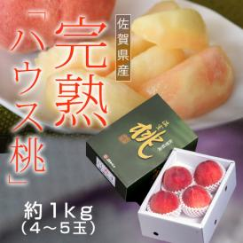 佐賀県産 JAからつの 完熟ハウス桃 約1kg  4~5玉