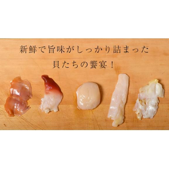 5種の貝づくし 各5枚 合計25枚 約180g ホタテ貝 つぶ貝 赤貝 白ミル貝 北寄貝 冷凍02