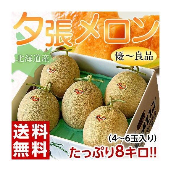 メロン 北海道産 夕張メロン 共選品 優~良品 約8kg (4~6玉) ※常温または冷蔵 送料無料01