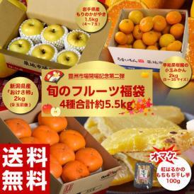 送料無料 豊洲移転記念第二弾「旬のフルーツ福袋4種 合計約5.5kg」りんご・みかん・たねなし柿・干し芋