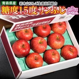 りんご サンふじ ふじ 青森県産 糖度15度 サンふじ 約3kg (7~13玉) 岩木山りんご生産出荷組合 送料無料