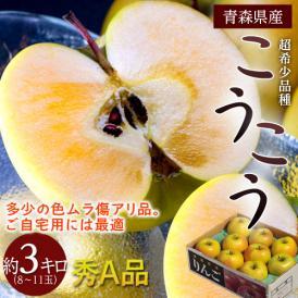 りんご リンゴ 青森県産 訳あり こうこう 約3kg 8~11玉 秀A品 ※スレ傷あり ※3箱まで同一配送先に限り送料1口で配送可能