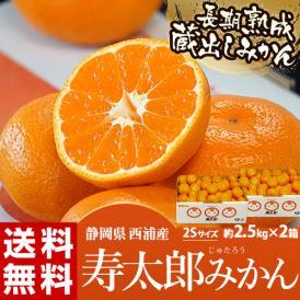 静岡県産 寿太郎みかん 超小玉2Sサイズ 約2.5kg×2箱 産地箱 ※常温 送料無料