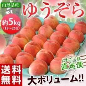 桃 もも モモ 白桃 はくとう 山形県産 ゆうぞら 約5kg(13~25玉) 送料無料