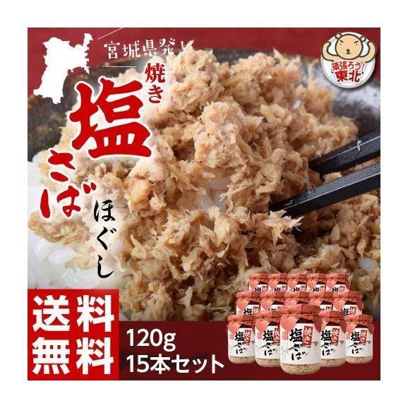鯖 サバ さば ご飯のお供 伯方の塩使用 焼き塩さばほぐし 120g×15本 常温 送料無料01