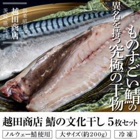 「越田商店 鯖の文化干し(ノルウェー鯖使用)」大サイズ(約200g)5枚セット ※冷凍