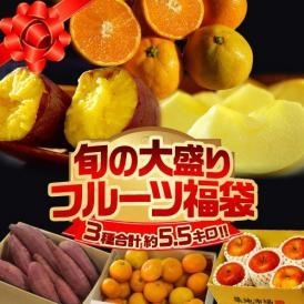 福袋 みかん りんご 芋 大盛りフルーツ福袋 第二弾 3種 計約5.5kg 送料無料