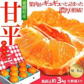 『甘平(かんぺい)』愛媛県産 柑橘 優~秀品 L~4Lサイズ 風袋込み約3kg(8~15玉)化粧箱入 ※常温 送料無料