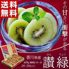 キウイフルーツ キウイ 香川県 讃緑 (さんりょく) キウイ 24~33玉入り 約3kg 風袋込 送料無料