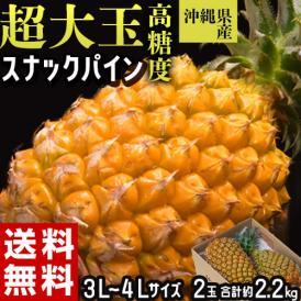 パイナップル 沖縄県産 超大玉 スナックパイン 3~4Lサイズ 2玉セット 合計約2.2kg 常温 送料無料