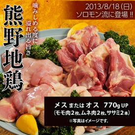 肉 鶏肉 三重県産 熊野地鶏 メスまたはオス 770gUP ムネ肉2枚 モモ肉2枚 ササミ2本 冷凍 同梱不可 送料無料