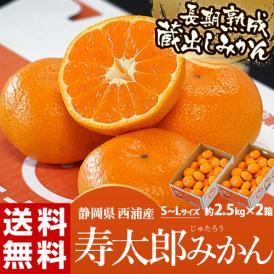 静岡県産 寿太郎みかん S~Lサイズ 約2.5kg×2箱 産地箱 ※常温 送料無料