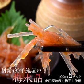 創業430年 鮑屋の梅水晶 100g×5袋 小田原 曽我の梅肉使用 ※冷凍 送料無料