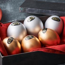 烏骨鶏ゴールデンエッグ(黄金・白銀)セット 【燻製卵】